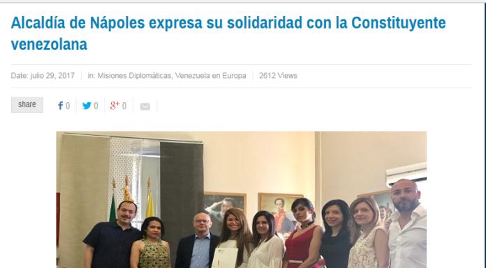 La pagina del ministero bolivariano