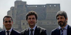 Da sinistra Luigi Di Maio Matteo Brambilla e Roberto Fico