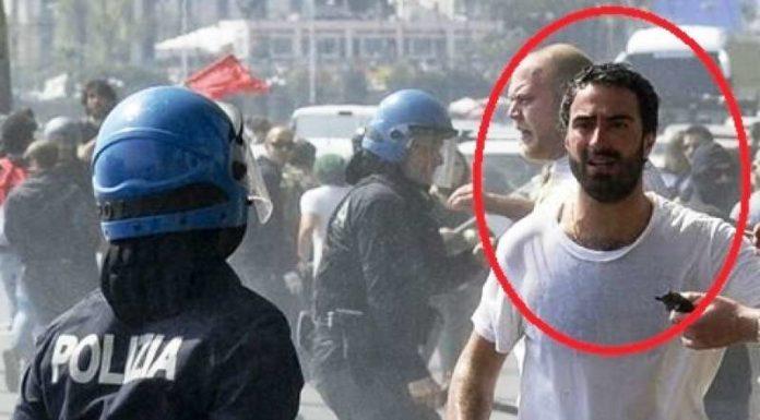 Ivo Poggiani durante gli scontri per la visita di Matteo Renzi in città