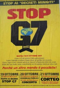 Il logo degli antagonisti per i manifesti appesi a Napoli in vista del G7 a Ischia