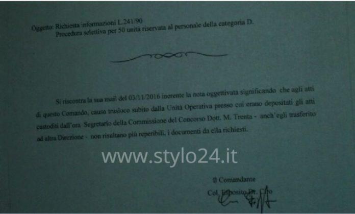 La nota a firma del comandante Ciro Esposito