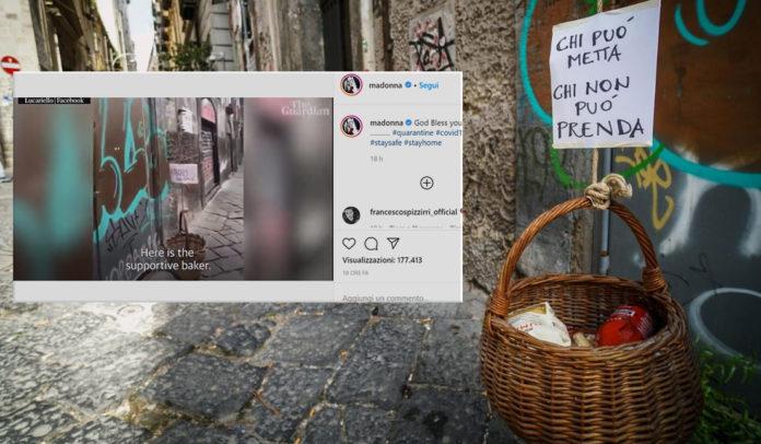 Anche Madonna celebra Napoli e il paniere solidale: