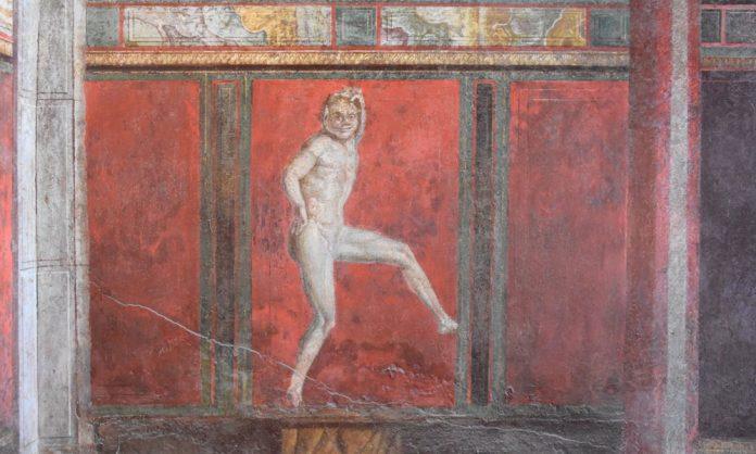 L'affresco del Satiro danzante di Villa dei Misteri (foto Parco archeologico di Pompei)
