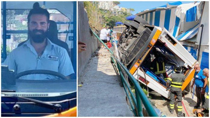 La vittima Emanuele Melillo e il bus precipitato